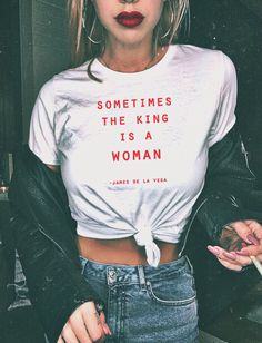 Feminist Shirt King Is A Woman Tee Women's Clothing Tumblr Feminism Shirt Gifts For Her Women's Rights Tshirt by shesawolfclothing on Etsy https://www.etsy.com/listing/563775784/feminist-shirt-king-is-a-woman-tee