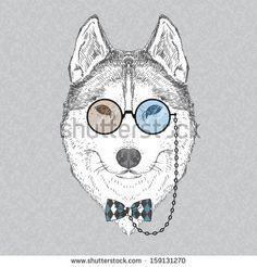 Hand Drawn Vector Fashion Portrait of Husky by Olga_Angelloz, via Shutterstock