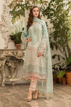 Latest Maria B Eid Lawn Dresses Designs Collection Latest Pakistani Dresses, Pakistani Fashion Casual, Pakistani Bridal Dresses, Pakistani Dress Design, Pakistani Outfits, Indian Dresses, Indian Outfits, Indian Fashion, Eid Dresses