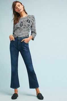Slide View: 1: Citizens of Humanity Fleetwood Crop High-Rise Flare Jeans