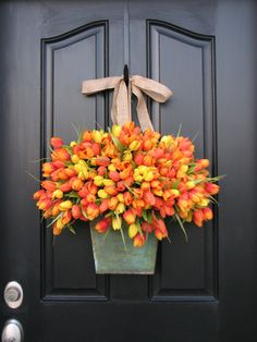 front door decorations for spring | Spring Tulips - Farmhouse Tulips - XL Front Door Decor - Galvanized ...