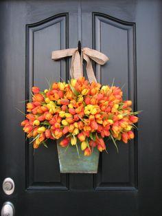 front door decorations for spring | Spring Tulips - Farmhouse Tulips - XL Front Door Decor - Galvanized ...