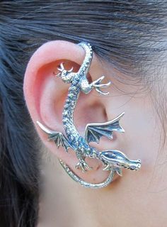 Cartilage Piercing Earrings, Dragon Sentry Ear Wrap Jewelry #cartilage #piercing #dragon #earrings www.loveitsomuch.com