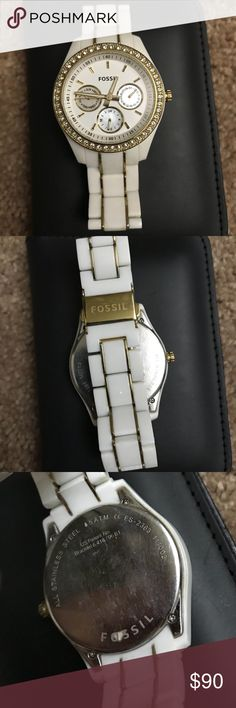 White gold Fossil watch w. cubic zirconia stones Perfect condition only worn a few times with my military dress blues Fossil Accessories Watches