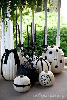 DIY Black & White  Halloween Pumpkins - complete tutorial from WhipperBerry - Love the clock one!!! by jeri