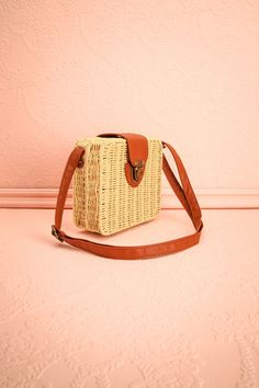 Boleadoras Straw Beige and Brown Handbag | Boutique 1861