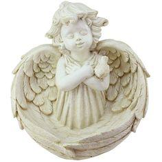 "9.5"" Heavenly Gardens Distressed Ivory Cherub Angel Bird Feeder... (3810 RSD) ❤ liked on Polyvore featuring home, outdoors, outdoor decor, outdoor garden decor, angel garden decor, angel garden statue, angel statuary and garden bird feeders"