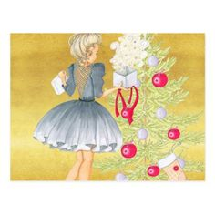 Magic of Christmas - Blonde Decorating A Tree Postcard - Xmascards ChristmasEve Christmas Eve Christmas merry xmas family holy kids gifts holidays Santa cards
