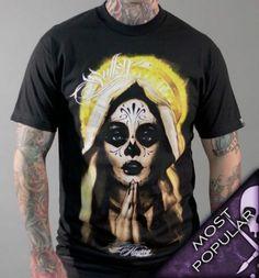 Iron Fist Pray for me  Men/'s T-Shirt Skate Psychobilly Tattoo  Herren Shirt