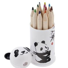 Panda Coloring Pencils and Sharpener Set