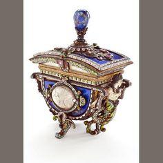 A Viennese Lapis jeweled box, 19th century.