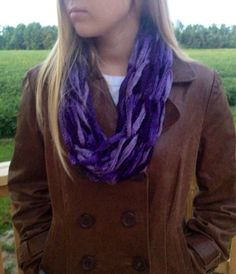 Boogie Lightweight Fashion Arm Knit Scarf / Purple Infinity Scarf by RicksChicksBoutique