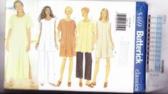 Butterick 5469 Uncut 12 14 16 Loose Fit Tent Dress Tunic Straight Leg Pants Easy  (This pattern has been sold. Click through to see if I have something else you would like.)