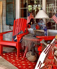 For an all-American, country look, incorporate reds and blues in your front porch color scheme.