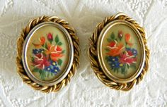 Edwardian Victorian Gold Plated Brass Hand Painted Floral Earrings