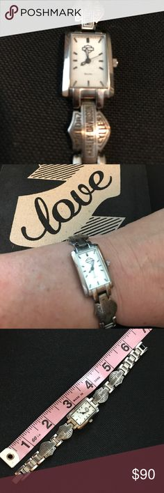Women's Harley Davidson watch Gently loved Women's Harley Davidson watch by Bulova. Brand new battery. Some scratches on back from wear, but glass ow window has no scratches. Harley-Davidson Accessories Watches