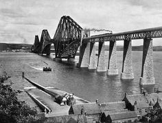 Photograph from View Album of Edinburgh & District, published by Patrick Thomson around 1900  -  Forth Bridge, photo 1