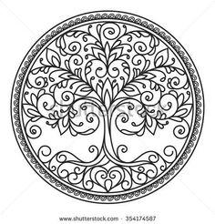 decor element vector black and white illustration mandala tree circle heart leaves plant design element abstract Flower Mandala, Mandala Art, Lotus Mandala, Mandala Design, Dotwork Tattoo Mandala, Hand Tattoo, Tattoo Tree, Tattoo Ribs, Tattoo Finger