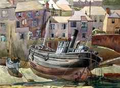 "'OLD NEWLYN HARBOUR' | Michael Canney (1923-1999): Watercolour, signed 11"" x 14""     ✫ღ⊰n"