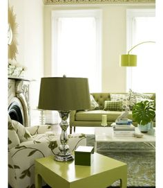 Olive green and tan tones in an airy room