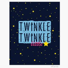"Twinkle Twinkle Little Star Nursery Rhyme Wall Art Print, Starry Sky Kids Baby Home Room Decor Navy Blue Hot Pink Yellow ofCarola 8x10"" on Etsy, $17.20 AUD"