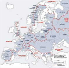 Major European rivers' drainage divides and catchments