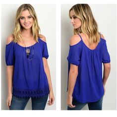 Sweetheart Top   Gorgeous royal blue open shoulder top with short sleeves and a beautiful trim on the bottom of the front! Slightly sheer and brand new without tags (straight from vendor). 100% Polyster •No Damages•No Trades•No PayPal• Tops