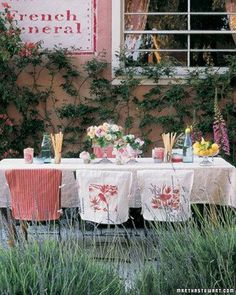 Rustic summer entertaining...love the chair covers!  Many ideas here for affordable decor and recipes.