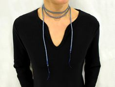 Boho Choker Necklace, wrap Choker