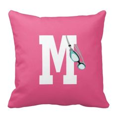Celebrate your love for swimming with this personalized throw pillow with your monogrammed initial and image of swimmer's goggles. We can customize this with your name and in the colors of your choice or order it in the pink, pool and white color combo shown. This custom accent pillow is the perfect room decor for any boy, girl or teen swimmer. Great kids swimming themed Christmas present.
