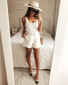 Planejando o Guarda-Roupa de Verão, guarda-roupa de verão, o que usar no verão, montando guarda-roupa de verão, macacão de linho Looks Boho Chic, Casual Looks, Girl Fashion, Fashion Looks, Fashion Outfits, Womens Fashion, Spring Summer Fashion, Spring Outfits, Look Con Short