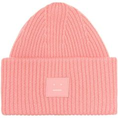 Acne Studios Pansy S Face Wool Beanie ($160) ❤ liked on Polyvore featuring accessories, hats, pink, woolen beanie caps, wool beanie hat, wool hat, acne studios beanie and pink hats