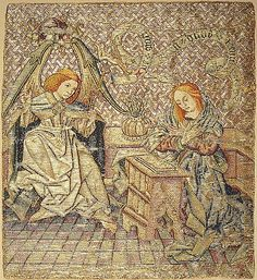 Embroidery with the Annunciation  mid-15th century, Netherlandish, Silk and metallic threads on linen 8 1/4 x 3 3/4 in. (21 x 9.5 cm)