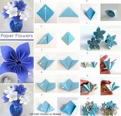 flores origami azules para decorar