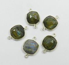 Wholesale Lots,925 silver Labradorite gemstone double loop charm 5 PCS connector #Handmade