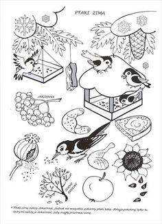 Użyj STRZAŁEK na KLAWIATURZE do przełączania zdjeć Coloring For Kids, Coloring Pages For Kids, Feeding Birds In Winter, Winter Art, Forest Animals, Free Motion Quilting, Christmas Colors, Preschool Crafts, Line Drawing