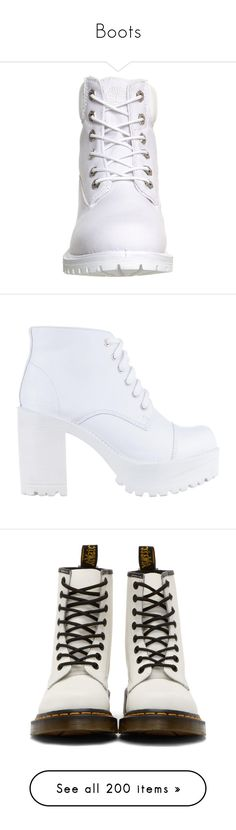 """""""Boots"""" by xniczax ❤ liked on Polyvore featuring shoes, boots, ankle booties, waterproof boots, timberland boots, leather lace up boots, leather ankle boots, white booties, craig and white leather"""