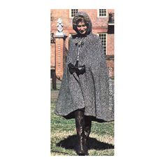 1970s Vintage Hooded Cape Knitting Pattern: Easy-wearing tweed cape with hood and frog fasteners, ends at your boot tops. Basic stockinette has crocheted edges and shoulders are gently shaped.  Size: Small 8-10, medium (12-14), large (16-18) Materials: Reynolds Icelandic Tweed (chunky weight yarn), 14 (16-18) 100 gr skeins. 36 inch circular knitting needle No. 11. Steel crochet hook No. 00. Two frog fasteners.  *You are purchasing the pattern only and not a finished item.*  This pattern is…