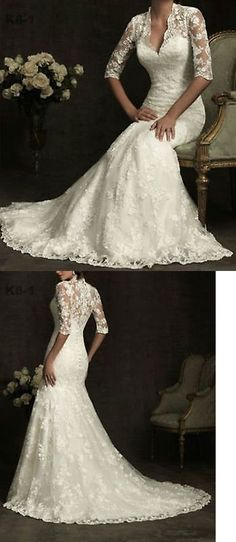 Wedding Dresses: White Ivory Bridal Gown Half Sleeves Lace Wedding Dress Size 4 6 8 10 12 14 16++ -> BUY IT NOW ONLY: $104.4 on eBay!