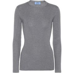 Prada Wool-Blend Sweater ($675) ❤ liked on Polyvore featuring tops, sweaters, grey, long-sleeved, gray sweater, prada top, gray top, grey top and prada