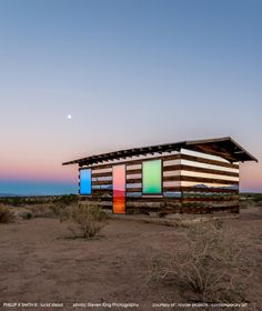 """Lucid Stead"" by Phillip K. Smith III - Dusk With LED Lighting  Joshua Tree National Monuement"
