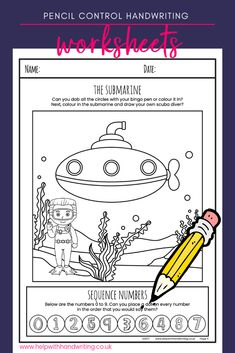 Under the sea has many sea creatures that await to be discovered. Teaching Handwriting, Handwriting Activities, Neat Handwriting, Handwriting Worksheets, Handwriting Practice, Kids Motor, Fine Motor Activities For Kids, Literacy Activities, Improve Writing