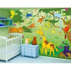 Tapete kinderzimmer tiere  Tapete Kinderzimmer - selbstklebende Tapete - Fototapete Wald No ...