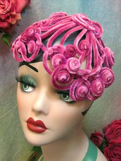 Antique Vintage 1940's Chenille Wired Half Hat Millinery Lilac Pink Fuchsia   eBay