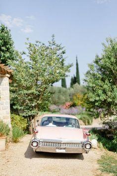 rose quartz car at wedding