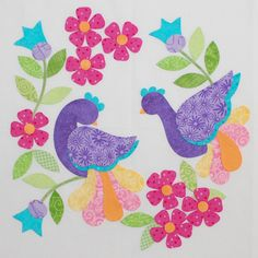 Turned applique: pattern and templates. I have to make this whole set. One centerpiece and 12 surrounding pieces. Gorgeous in tropical colors!