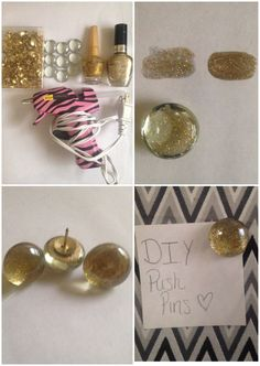 DIY push pins. You need: glass pebbles, thumb tacks, nail polish, hot glue.  Steps:  1. I had two nail polishes. One was more clear than the other. I covered the pebbles with the clear sparkly one first, let it dry and then I put the darker nail polish over it. 2. After your nail polish coats completely dry, hot glue a thumb tack on the back.  Enjoy!