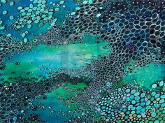 Modern abstract featuring beautiful ocean blue and green with abstract patterns that resemble the underwater world and water bubbles. A superior quality giclee.