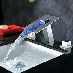 High End Wall Mounted Waterfall LED Sink Faucet | Faucet ...
