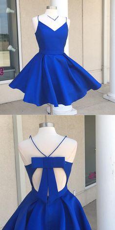 short royal blue homecoming dress, 2017 short homecoming dress, royal blue homecoming dress with bow, straps homecoming dress